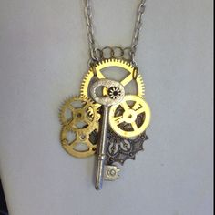 Steampunk necklace my Dad made at a jewelry class