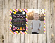 Matching girl invitation for Zoo Train theme First Birthday photo option.