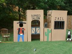 """Create a cardboard """"town"""" for a Wild West party, cowgirl theme, Little House on the Prairie theme, castle/princess theme, and more! Cowboy Birthday Party, Cowgirl Party, 3rd Birthday, Pirate Party, Rodeo Party, Horse Party, Birthday Parties, Wild West Theme, Wild West Party"""