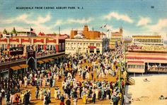 New Jersey Almanac: Gateway to New Jersey Information Asbury Park, Beach Images, Vintage Postcards, Back Home, New Jersey, East Coast, Taj Mahal, Places To Go, Post Card