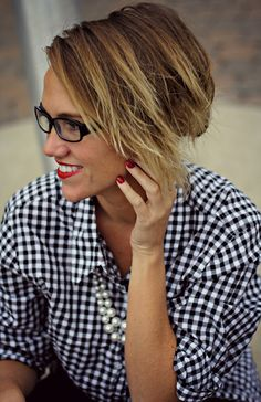 geek chic in glasses, pearls, gingham and classic red lipstick