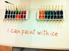 Painting with Ice - simple art & science activity have done this before but not with the sticks