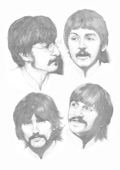 Beatles Sgt Pepper Sketches A3 by Carl-Seager  not crazy about Ringo's sketch