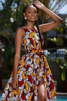 kitenge designs Made of Authentic Ankara Wax Print Maxi Dress with Pockets and Belt High Front Slit Loose Fit True to Size Model is Wearing a Size XS Ankara Dress Styles, African Fashion Ankara, African Inspired Fashion, African Dresses For Women, African Print Dresses, African Print Fashion, Africa Fashion, African Attire, African Women