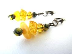 Dangle amber earrings, cluster bead earrings, ethnic amber earrings, amber jewelry, inspired by nature earrings