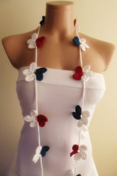 hand crocheted floral scarf lariat christmas gift by smilingpoet