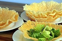 Parmesan and Romano Edible Cheese Bowls -- An easy microwave recipe