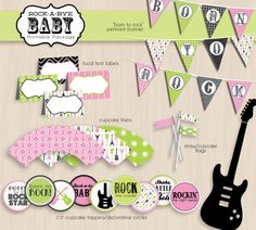 ROCK GUITAR Baby Shower Printable Package in by PrintasticDesign, $25.00
