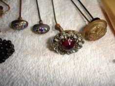 antique hat stick pins | Vintage Antique Lot of Stick Hat Pins Lutz Glass Berry Pins | eBay