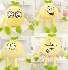 25/35CM Soft Emoji Plush Toy Smiley Emoticon Yellow bean sprouts Cushion Stuffed Funny Toys Gift