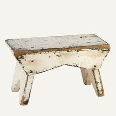 """13 1/4"""" x 6 3/4"""" x 7 1/2"""" Distressed stool adds height to dessert display. $5"""