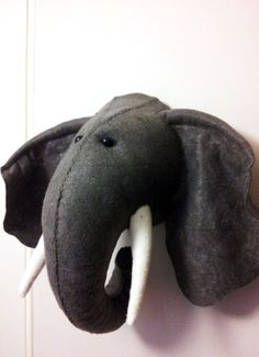 Wall Mounted Animal Heads in Fabric - Ernie Elephant