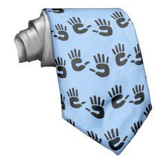 Handprints blue tie