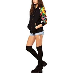 Black Floral Print Long Sleeve Baseball Jacket ($32) ❤ liked on Polyvore featuring outerwear, jackets, black, colorful jackets, floral print jacket, floral jacket, flower print jacket and stand collar jacket