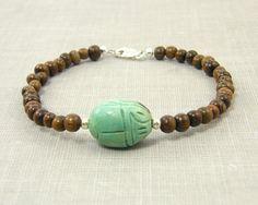Scarab Bracelet Wood Bracelet Turquoise Brown by CharleneSevier, $24.00