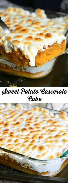 Sweet Potato Casserole Cake   from willcookforsmiles.com #desserts #cake #marshmallow