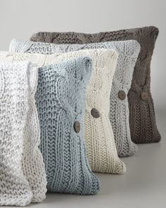 """Amity Home Cable-Knit Pillow, 20""""Sq. - traditional - bed pillows and pillowcases - Horchow"""