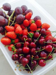 Red Fruits ~ Grapes, Strawberries and Cherries