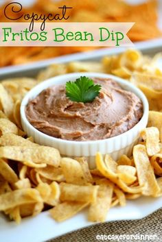 Copycat Fritos Bean Dip - This tastes EXACTLY like the real thing on eatcakefordinner.net #recipe #copycat #dip