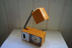 Wigo electic alarm clock and lamp. Yellow by DecadesOfFunkiness Small Clock, Brushed Stainless Steel, Alarm Clock, Desk Lamp, Night Light, Germany, Good Things, Yellow, Metal