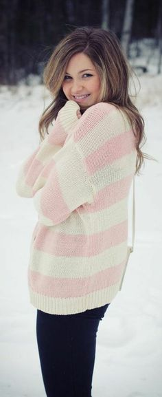 Pink and white sweater