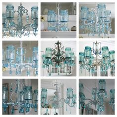 Vintage Mason Jar Chandelier...Aqua Crystals....Made by Shabbyfufu, $395.00