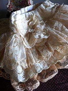 Wedding flower girl vintage lace ruffled skirt (59.00)