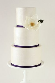 3 Tier Extended Ivory Pearl and Magnolia Cake