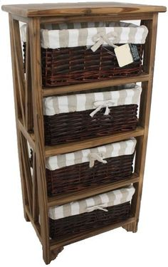 Wooden Drawers Storage Cabinet  Wicker Baskets Lined Organiser Space Saver