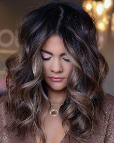 Brown Hair With Highlights, Hair Color Highlights, Hair Color Balayage, Hair Color For Black Hair, Cool Hair Color, Hair Colors, Chocolate Brown Hair Dye, Brown Hair Shades, Hair Due