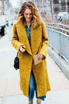 Try an oversized mustard jacket this fall for something different but chic.