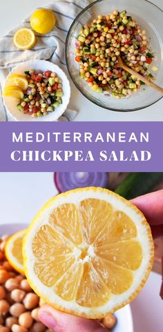 This Chickpea Salad is loaded with Mediterranean flavors, comes together in under 10 minutes, and is perfect for meal prep. Mediterranean Chickpea Salad, Mediterranean Recipes, High Protein Recipes, Vegan Recipes, Vegan Meal Prep, Vegan Meals, Vegan Food, Plant Based Eating, Greek Recipes
