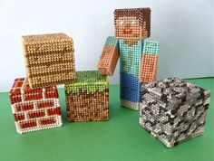 Minecraft, made from plastic canvas.