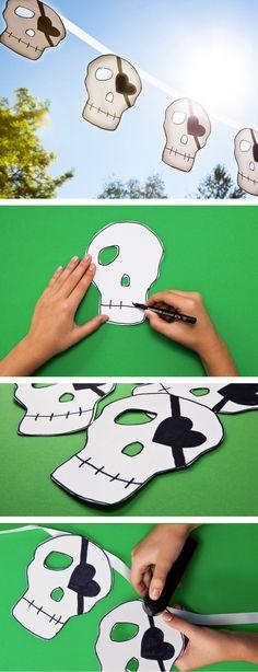 Totenkopf Vorlage für die Halloween Deko  - skull garland for Halloween. Halloween decorations.