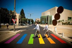 Urban intervention reaches out to the people, Tel Aviv, Israel is getting ready for the city's annual gay parade as they paint their pedestrian crossing in the colours of the gay pride flag. Rainbow Flag, Rainbow Colors, Tel Aviv Pride, Pride Week, Pedestrian Crossing, Urban Intervention, Zebra Crossing, Pride Parade, Gay Pride