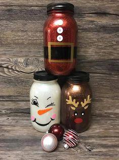 Decorative Snowman, Santa Claus and Reindeer Mason Jars. Choose the Mason Jar Mason Jar Snowman, Mason Jar Art, Glitter Mason Jars, Mason Jar Crafts, Bottle Crafts, Snow Man Mason Jar, Cork Crafts, Snowman Ornaments, Bottle Art