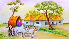 #scenerydrawing #bullockcart #howtodraw Beautiful Scenery Drawing, Drawing Scenery, Scenery Paintings, Oil Pastel Paintings, Oil Pastel Drawings, Oil Pastel Art, Drawing Books For Kids, Art Drawings For Kids, Cool Drawings