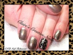 CND Vinylux in Steel Gaze with Black Pearl Konad Stamping in animal print. Created by Claire's Creative Nails, Northampton.