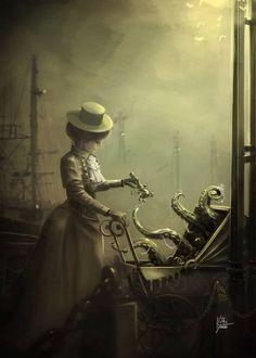 steampunktendencies: Little cthulhu by VilKo-yote Steampunk. Hp Lovecraft, Lovecraft Cthulhu, Cthulhu Art, Cthulhu Tattoo, Dark Fantasy Art, Fantasy Kunst, Fantasy Artwork, Gothic Artwork, Arte Horror