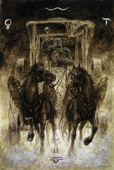 Making an entrance. The Chariot. Luis Royo - The Labyrinth Tarot.