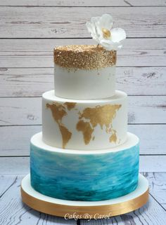 Travel Wedding Theme by Carol - http://cakesdecor.com/cakes/247336-travel-wedding-theme