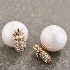 Pair of Cute Women's Rhinestone Embellished Fruit Faux Pearl Earrings