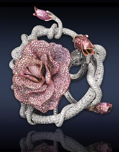 Absolutely awesome: Pink Rose Cuff Bracelet, the petals composed 80.57 ct pave set white diamonds and 42.81 ct rose cut diamonds, mounted in titanium and 18k white gold.