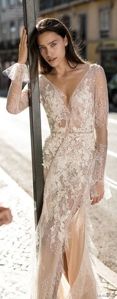liz martinez 2018 lisbon long sleeves deep v neck full embellishment high slit skirt sexy romantic soft a  line wedding dress open low back sweep train (8) mv  -- Liz Martinez Wedding Dresses 2018