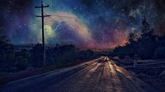 Man Made Road  Starry Sky Sky Night Wallpaper