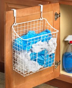 Over the Cabinet Grid Trash Bag Holder