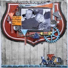 Kaisercraft Products: Garage Days papers- Shield Space Parts Paper Pad Collectables Garage days Rubons Sticker sheet Wooden Flourishes Large Cog Texture stamps Grid Arty Rhinestone – Dark blue Scrapbook Blog, Disney Scrapbook, Scrapbooking Layouts, Scrapbook Pages, Dad Crafts, Memory Crafts, Garage, Card Tags, Creative Cards