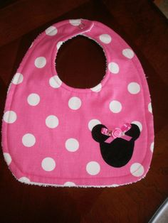 Hey, I found this really awesome Etsy listing at https://www.etsy.com/listing/207305972/baby-girl-bib-hot-pink-dots-minnie