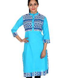 Buy Turquoise Geometric Pattern Cotton Printed Women Kurti tunic online