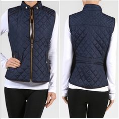 Only smalls left❗️Quilted vests Medium sold out❗️Please do not purchase this listing. Comment with size and I will create a new listing for you. Small (2/4) Medium (6/8) Large (10/12) Quilted patterned vest with ribbed sides and brown suede trim pipping. Price is firm unless bundled. Jackets & Coats Vests